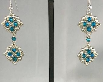 Dangling Diamond Bead woven Earrings