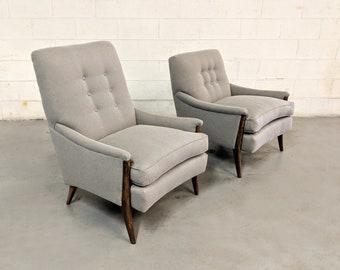 New RESTORED Mid Century Modern Walnut Lounge Chairs KROEHLER
