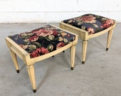 Pair of French Louis XV Neoclassical Footed Ottomans
