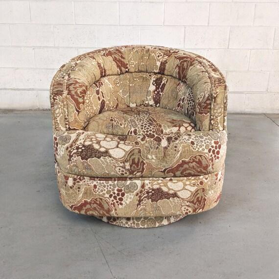 Wondrous Funky Mid Century Modern Plinth Base Swivel Barrel Chair Theyellowbook Wood Chair Design Ideas Theyellowbookinfo