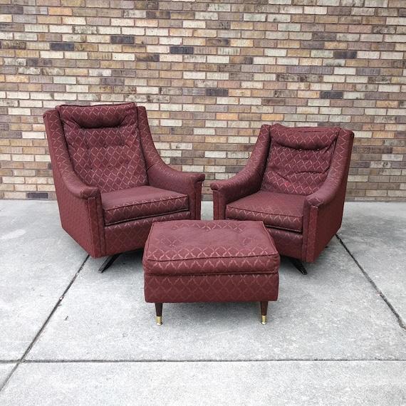 Terrific 3 Pc Mid Century Modern Swivel Rocker Chair Suite Set Machost Co Dining Chair Design Ideas Machostcouk