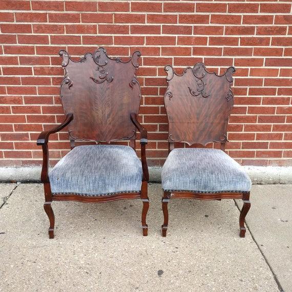 Merveilleux 2 ANTIQUE Art Nouveau Rosewood His U0026 Hers Parlor Chairs | Etsy