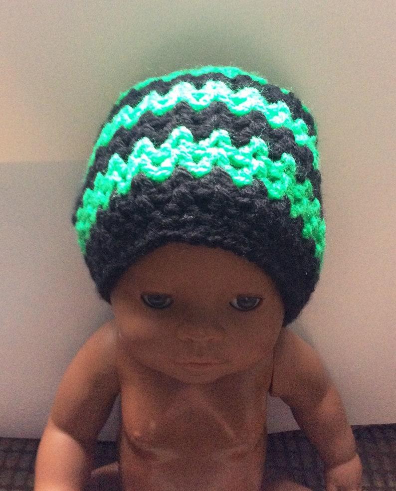 440a251287a Newborn hat baby boy green striped girl gift Cozy zig zag baby