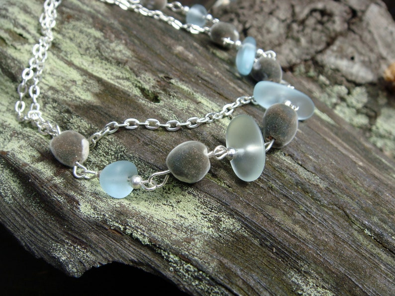Wire Wrapped African Mgambo Seed and Hawaiian Sea Glass Necklace