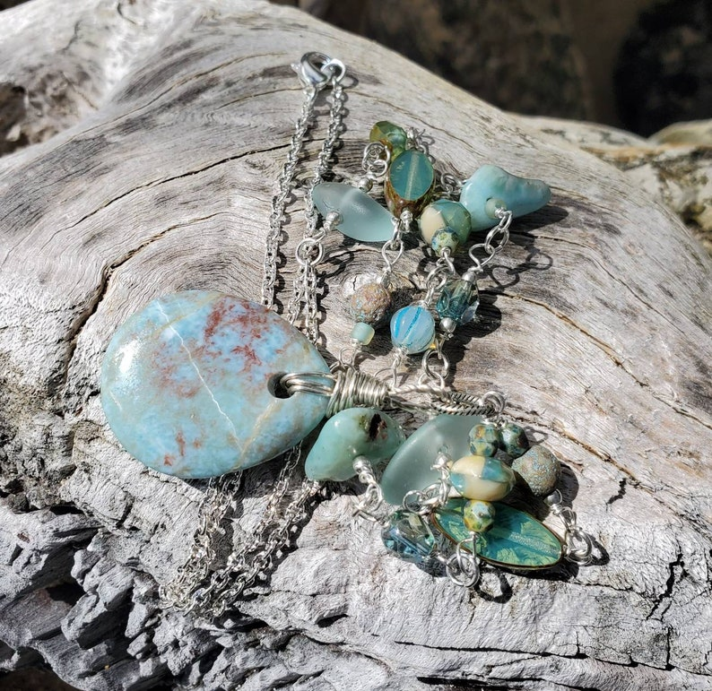 Authentic Polished Dominican Larimar Necklace Wire Wrapped  On Silver Plated Chain  OOAK