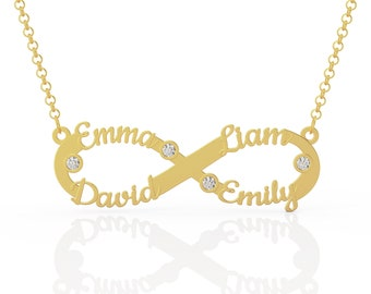4 Names Custom Necklace, Infinity Necklace with Names, Personalized Infinity Necklace, Custom Infinity Necklace with Birthstones, Wife Gift
