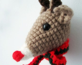 PATTERN Rudolph the Red Nosed Reindeer Amigurumi Ornament - Babysafe, Unbreakable - Instant Download by lostsentiments