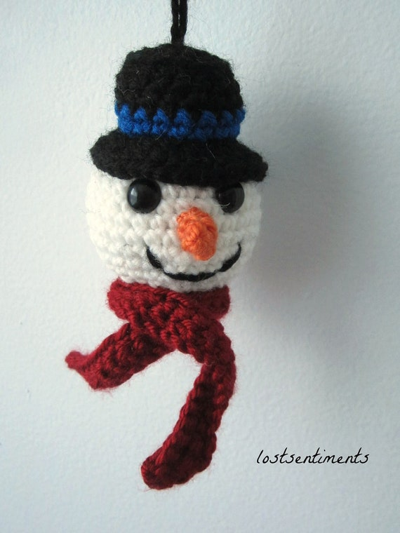 PATTERN Snowman Ornament Top Hat and Carrot Nose Crochet  e7e6252e05f