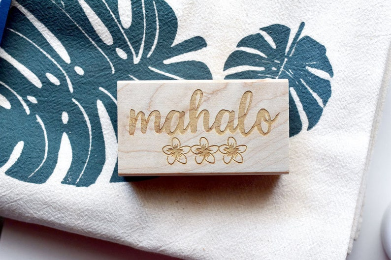 Mahalo Plumeria Rubber Stamp Hawaii Made with Aloha image 0