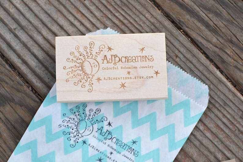 Custom Logo Rubber Stamp  Small Shop  Business Card  image 0
