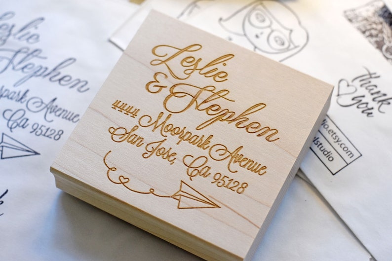 Return Address Rubber Stamp  Calligraphy Script  Customized image 0
