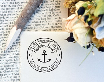Self Inking Return Address Stamp Round, Anchor Self Ink Address Stamp, Wedding Stamp, Wedding Engagement Gift, Housewarming Gift