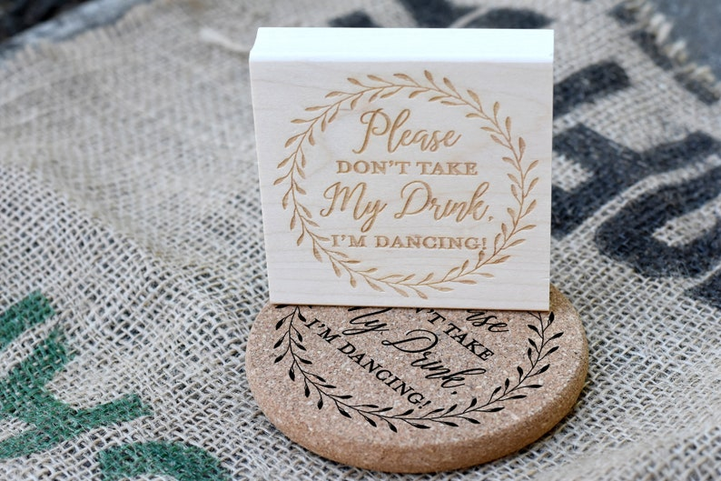 Custom Coaster Rubber Stamp  Please Don't Take My Drink image 0