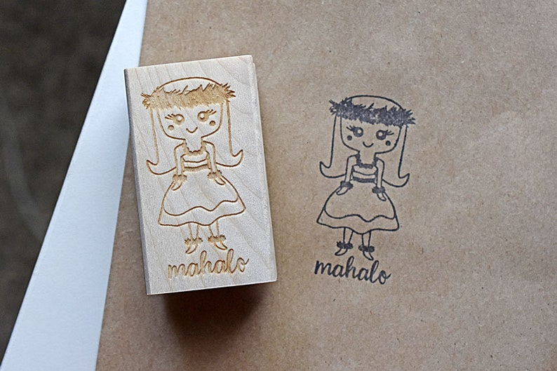 Hula Girl Stamp Mahalo Stamp Kahiko Hula Girl Hawaii Island image 0