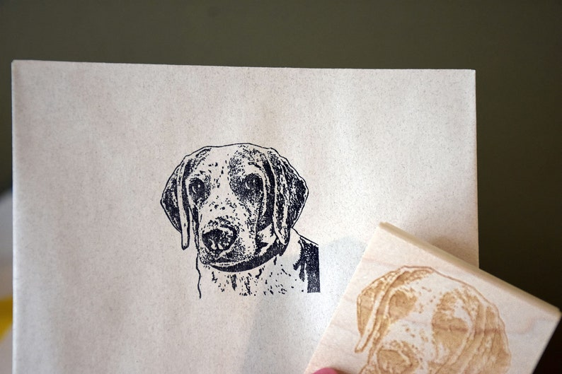 Dog Portrait Rubber Stamp Face Stamp Custom Pet Face image 0