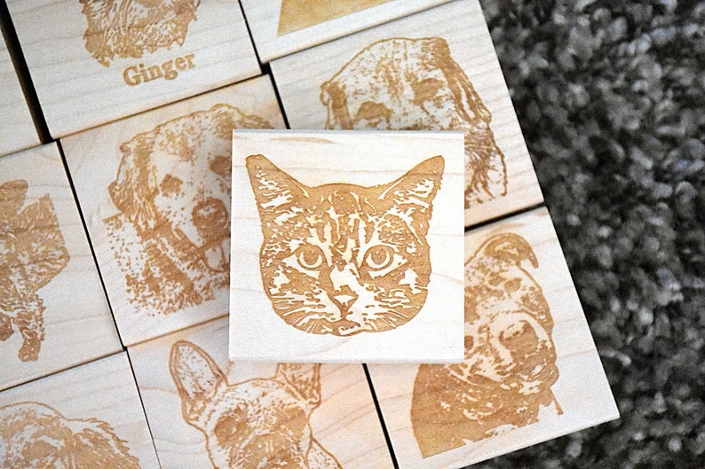 Cat Portrait Rubber Stamp Kitty Stamp Pet Stamp Face Stamp image 0