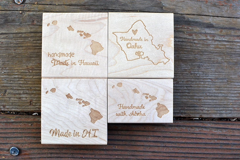 Made in Hawaii State Rubber Stamp Made with Aloha image 0
