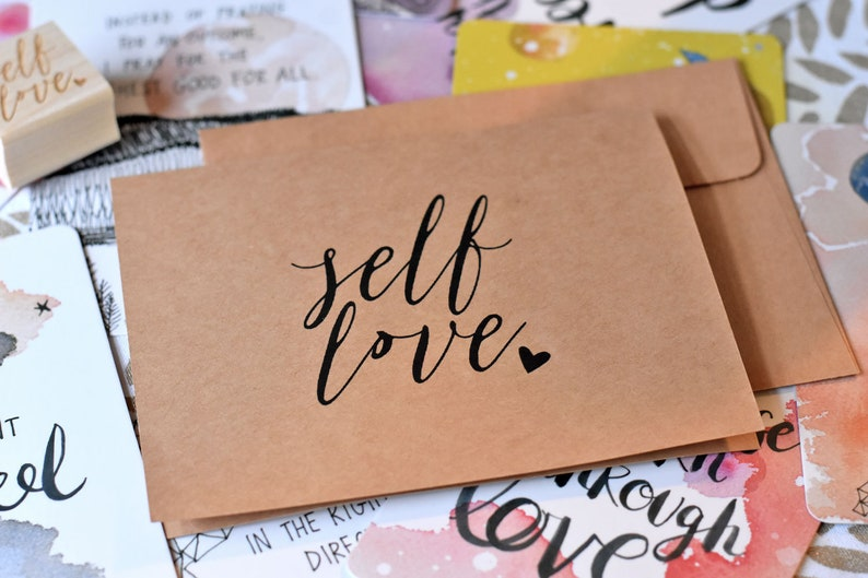 Self Love Cards Set of 10  Modern Calligraphy Card Set  image 0
