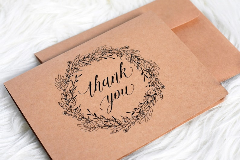 Thank You Cards Set of 10  Illustrated Rustic Floral Thank image 0