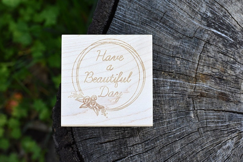 Custom Rubber Stamp  Have a Beautiful Day  Circle Round image 0