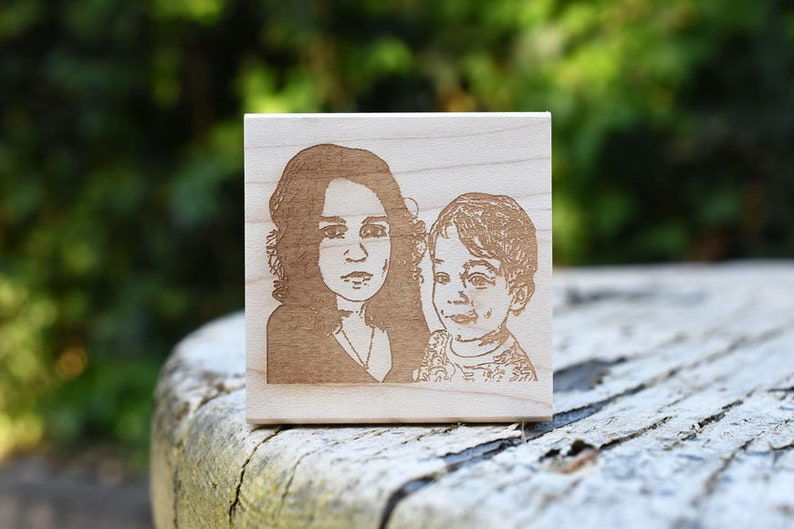 Portrait Rubber Stamp Face Stamp Couple Portrait image 0