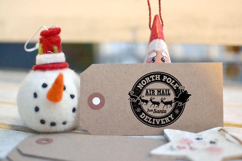 North Pole  Santa Air Mail  From Santa  Gift Tag  image 0