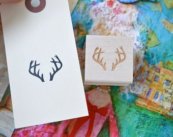 Antlers Rubber Stamp, Rustic, Boho Style