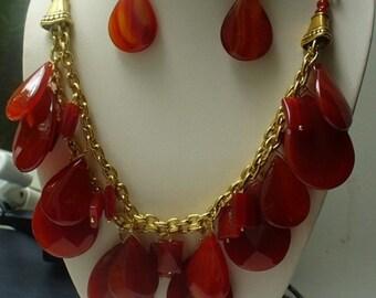 Carnelian teardrops and Brass chain