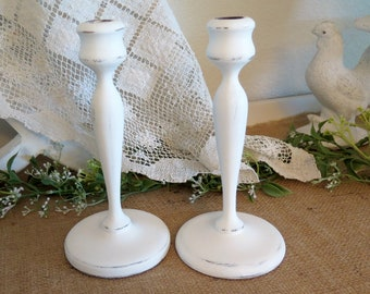 2 Shabby Cottage Chic Vintage Wood Candlesticks Farmhouse Chic Shabby Chic Country Chic decor