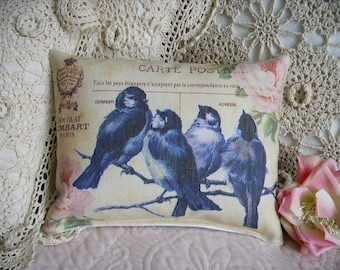 French Chic Bluebirds on Postcard Canvas Accent Pillow (style 27)