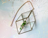 Handmade Sun Catcher, Vintage Window Ornament, 3D Geometric Cube, Dichroic Glass