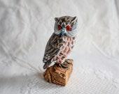 Folk Art Carved Owl Bird Sculpture Handmade Hand Painted