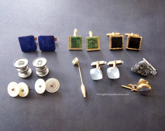 ec73ad2ff79c Assorted Vintage Men's Jewelry Lot, Cuff Links, Tie Pins and More, Estate  Sale Find