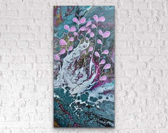 acrylic pour Abstract wall art 10x20 inch gallery wrapped canvas