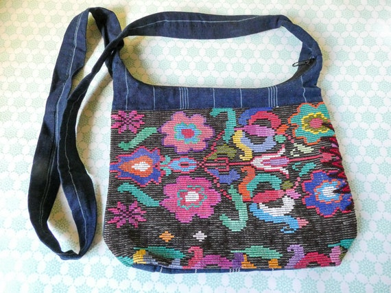 Guatemalan Handmade Shoulder Bag With Floral Embroidery Detail