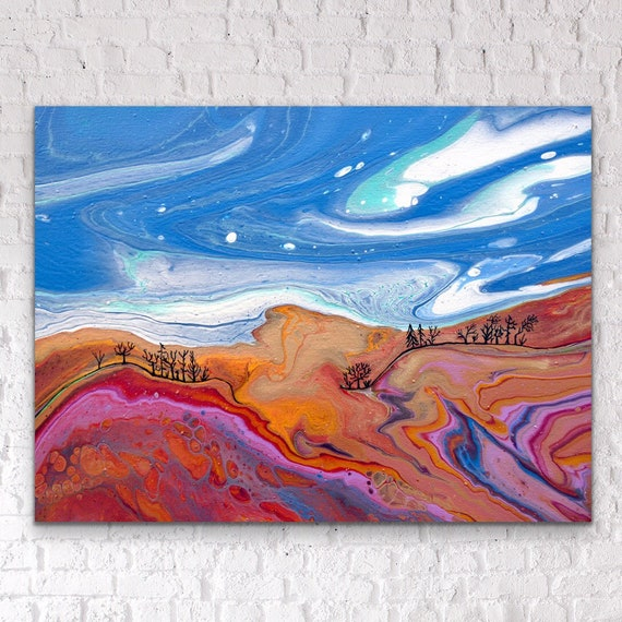LUNA SILVER ~ Embellished Original Fluid Art Acrylic Painting on Canvas Paint Pour Abstract 12x16