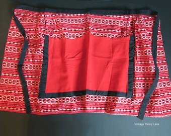Vintage Handmade Apron, Red White and Black Cotton, Size Medium to Large