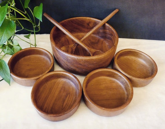 Teak Wood Salad Bowls Handmade Wooden Carving 7 Pc Set