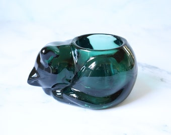 Vintage Green Glass Sleeping Cat Votive Candle Holder | Heavy Glass Cat Tealight Holder