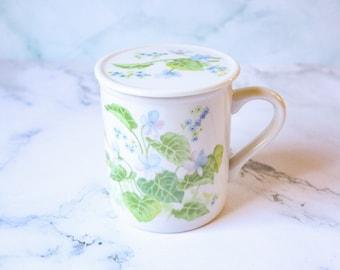 Ceramic Floral Mug | Tea / Coffee Cup with Lid | Botanical Garden Flowers