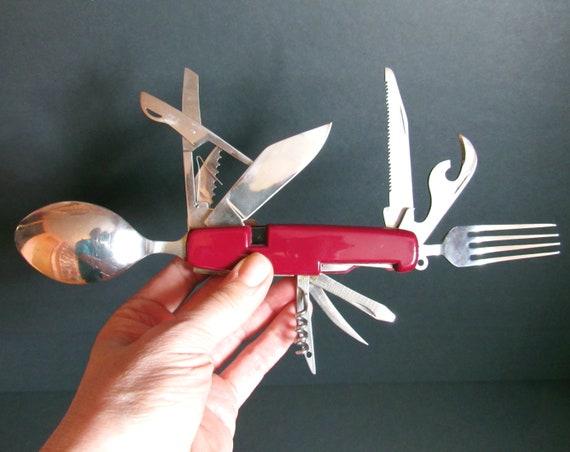 Vintage Jack couteau, couteau de Camping, Multi outil Hobo couteau, poignée en plastique, acier inoxydable