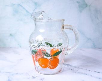 Vintage Glass Orange Juice Pitcher