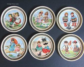 Vintage Plastic Coasters, International Children Illustrations