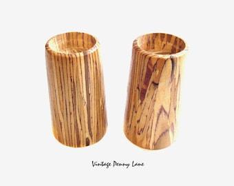 Vintage Candle Holder Set, Handmade / Wood