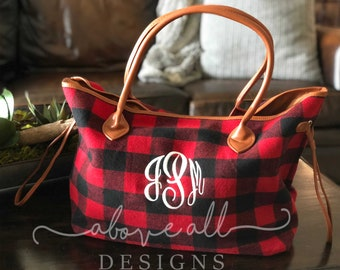 MONOGRAMMED Buffalo Plaid Bag - Red and Black 97d33f6d2ae1f