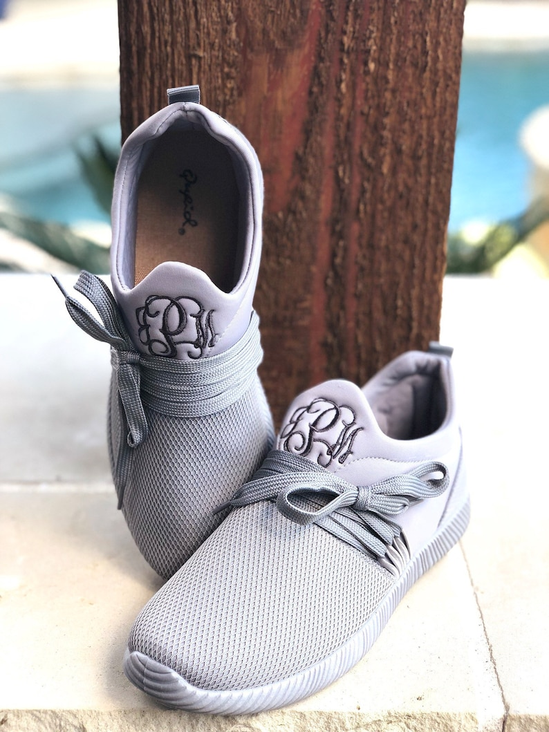 0f5dcf5d03ee3 Monogrammed Women's Grey Sneakers - Tennis Shoes