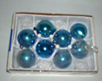 Vintage 50s PARAGON  Glass Christmas Ornaments, Fat Teardrop, Blue
