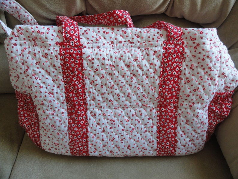 White and Red Quilted Diaper Bag