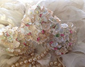 1 BOUQUET ANTIQUED   Millinery Flowers Forget Me Nots - Pale Aqua - Aged to Perfection