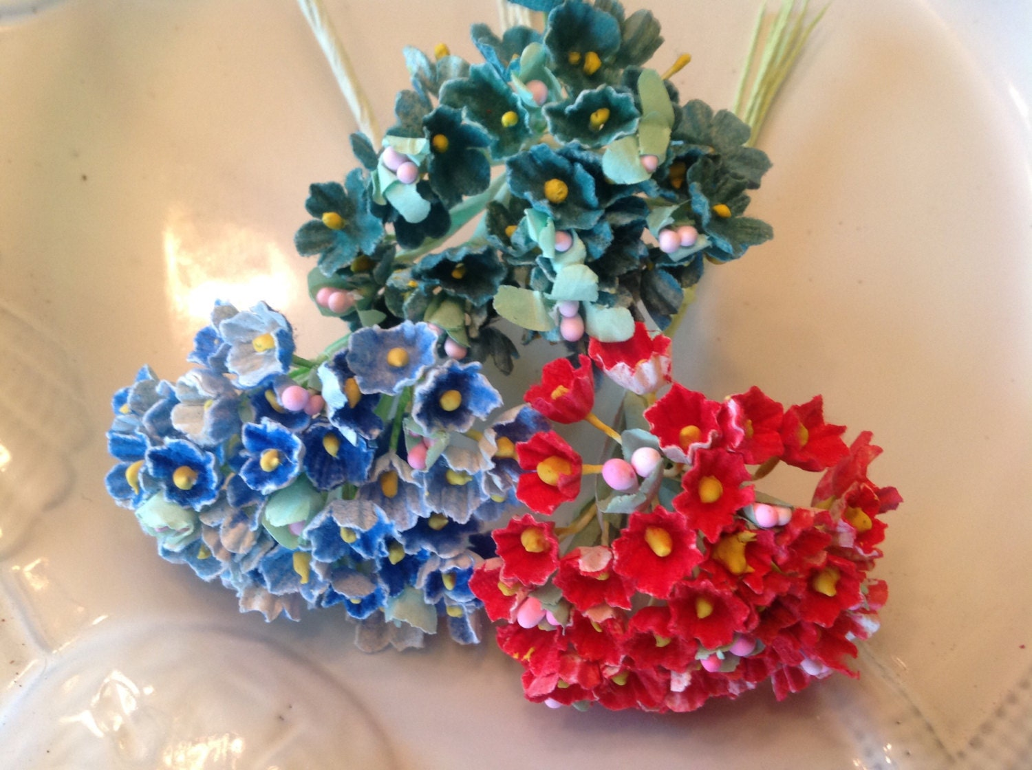 3 BOUQUETS VINTAGE Millinery Flowers Forget Me Nots- Red - Teal ...